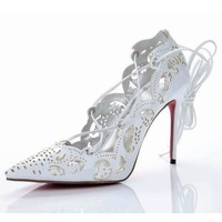 Christian Louboutin Fashion Edgy Ripped Tie The Rope Red sole Heels Shoes-1