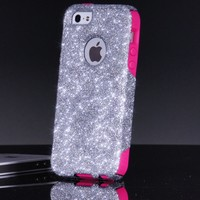 OtterBox Commuter Series Case for iPhone 5 5S - Custom Glitter Case for iPhone 5 5S - Silver/Pink