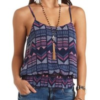 Printed Shirred Chiffon Tank Top by Charlotte Russe - Navy Combo
