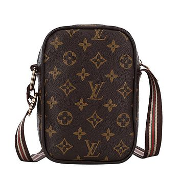 LV Louis Vuitton Women Leather Multicolor Satchel Crossbody Shoulder Bag Coffee