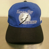 Vintage Tampa Bay Lightning NHL Sport Specialties Snapback Hat 1990's Very Rare Design Hat Collectors Piece