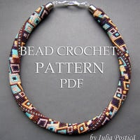 "Pattern for bead crochet necklace ""Skyscraper"" / Bead crochet pattern / Beaded necklace / Bronze, turquoise, silver, purple / PATTERN ONLY"