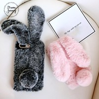 From Jenny Fluffy Rabbit Phone Case For Apple iPhone 6 6s 7 7plus 8 8plus Bunny fur cover winter warm style