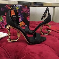 D&G DOLCE & GABBANA Women's Leather Fashion High-heeled Sandals