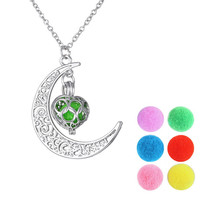DIY Jewelry Silver Moon Heart Love Aromatherapy Pendant Necklace Oil Diffuser Necklace Choker Collier Long Necklaces For Women