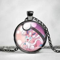 Sylveon Pokeball Pendant,Sylveon Necklace, Pokemon in Pokeball necklace, Pokemon Go,pokemon necklace,pokeball necklace, anime, pokeball