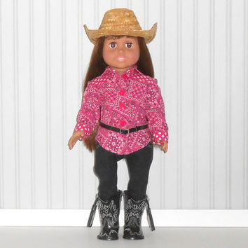 American Girl Doll Clothes Black Skinny Jeans and Hot Pink Western Shirt with Black Belt and Cowboy Hat fits18 inch dolls