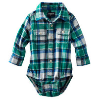 Button-Front Flannel Bodysuit