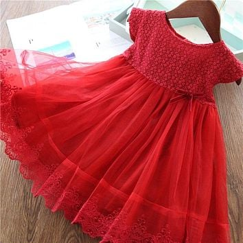 Red Girls Dress For Kids Summer Princess Dress Lace Embroidery Birthday Wedding Party Vestidos Children Autumn Clothing