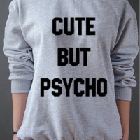 New womens letter sweater CUTE BUT PSYCHO