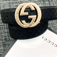 GUCCI 2019 new round head double G buckle men and women models wild belt