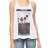 True Religion Palm Tree Womens Relaxed Tank - White