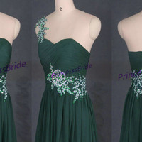 2015 long forest green chiffon prom dress hot,new elegant women gowns for holiday party,affordable bridesmaid dresses in stock.