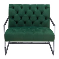 Luxe Accent Chair in Emerald Green Tufted Velvet Fabric with Polished Stainless Steel Frame