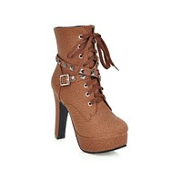 Women Shoes Fall/winter high-heeled lace-up Platform Short Boots