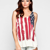 Others Follow Justice Womens Tank Red/White/Blue  In Sizes