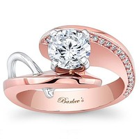 Barkev's Two Tone Contemporary Round Cut Diamond Engagement Ring