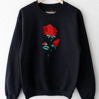Rose Oversized Sweatshirt - Black