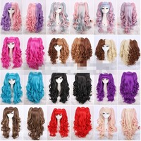 """Promotion! 18""""Color Lolita curly Split type Lori Girl With Ponytails Cosplay Wig"""