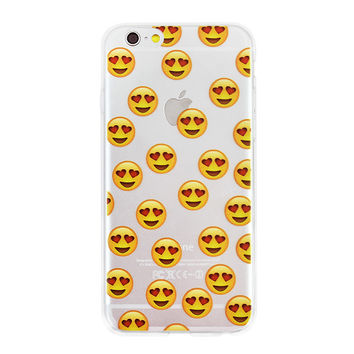Heart Eyes Emoji Collage Dense Soft Silicone TPU Clear Transparent Phone Back Case Cover for iPhone 5 5s 6 6s 7 7 Plus