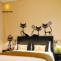 Tiny Black Cat Wall Decal Set of 4