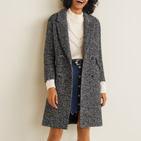 Herringbone flecked coat - Women | Mango USA