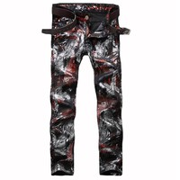 Mens Printed Jeans 2017 fashion jeans Slim Fit Skinny Night Club DJ Denim Trousers Pants Slacks Plus Siz Mens Wine Red Jeans