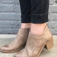Taupe Distressed Ankle Bootie