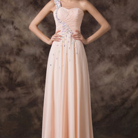 Light Orange Beaded One Shoulder Ruched Flounce Evening Dress
