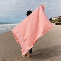 Peach Classic Stripes Towel by Sand Cloud