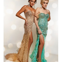 Jasz Couture 4826 Strapless Aqua Feather Gown With Rhinestones 2015 Prom Dresses