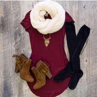 Solitaire Dress - Burgundy
