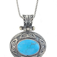 Turquoise Eclipse Silver Pendant VII