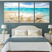 3 Pieces Of Wall Art Deco Seaview Sea Shells Modern Fashion Picture Print On Canvas Painting
