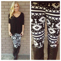 Navy & Black Aztec Print Leggings