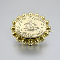 Antique Victorian Scenic Locket. 14K Rolled Gold Engraved House Scenic Mourning Hair Locket. Victorian Mourning Jewelry.