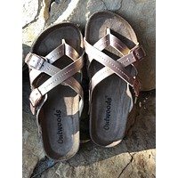 Ashley Criss Cross Sandals in Rose Gold (Size 6)