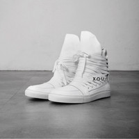 Mummy Lace Up Assche Leather Hightop Sneakers - XXL LIMITED STOCK