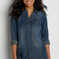 button down chambray tunic in dark wash | maurices