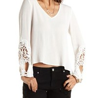 Crochet Bell Sleeve Top by Charlotte Russe