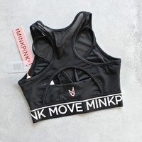 minkpink move - build me up mesh bra - black