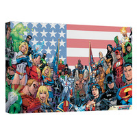 Justice League The League Stretched Canvas Wall Art