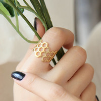 Honeycomb Ring, Hexagon Ring, Unique Ring, Sensitive Ring, Adjustable Ring, Cute Ring, Beehive Ring, Bee Ring, Girls Gift, Anniversary Gift