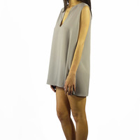 EastNWest Label Chain Top Dress Grey