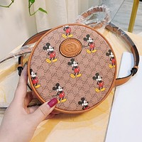 GUCCI New Retro Women Leather Cute Circular Shoulder Bag Satchel Bookbag Backpack