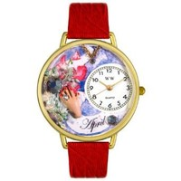 Whimsical Watches Unisex G0910004 Imitation Birthstone: April Red Leather Watch
