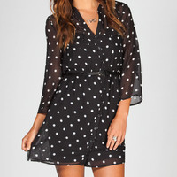 Full Tilt Polka Dot Belted Shirt Dress Black/White  In Sizes