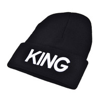 s Men Women Knitted Hiphop Hat Warm Cap Couple King Queen Beanie Hats Cap Black color Gifts  SM6