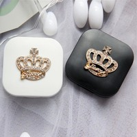Cute Contact Lenses Case Crown Design Travel Lens Box Set With Mirror Eye Lenses Holder Container For Cosmetic Contact Lens