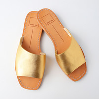 Cato Gold Leather Slide Sandals